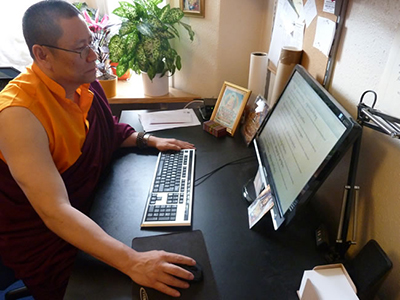 Ven. Lama Dondrup Dorje editing Tibetan Prayer translations